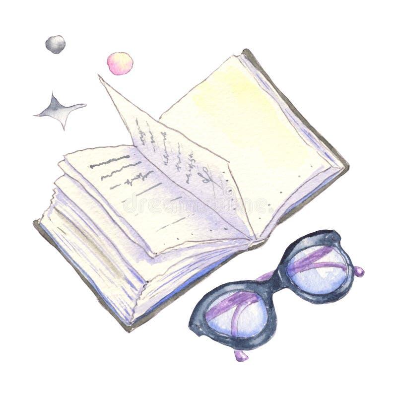 book exponeringsglas royaltyfri illustrationer