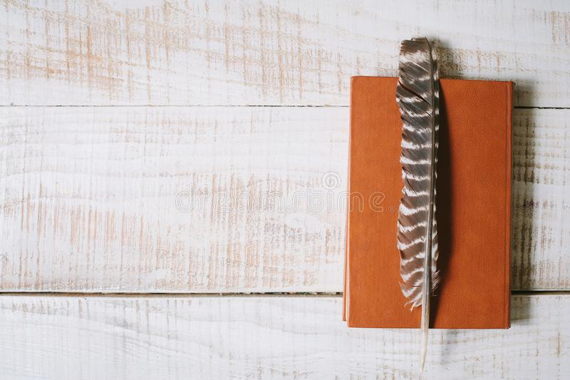 Book and feather lie on a wooden table. top view. layflat stock photography