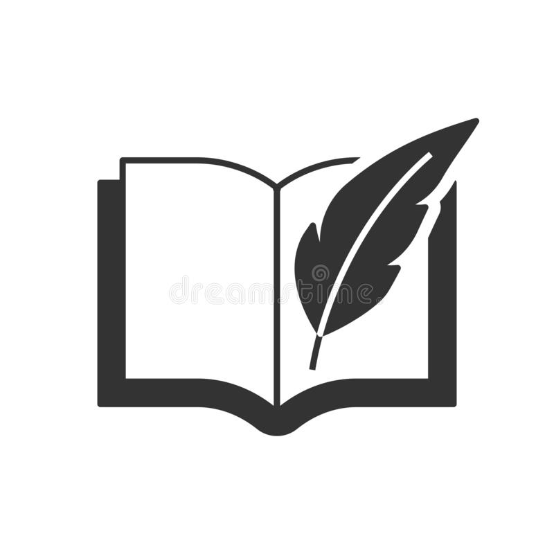 Book with feather pen stock illustration