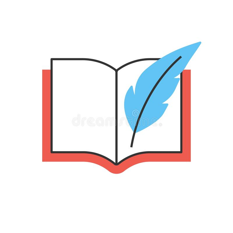 Book with feather pen line icon royalty free illustration