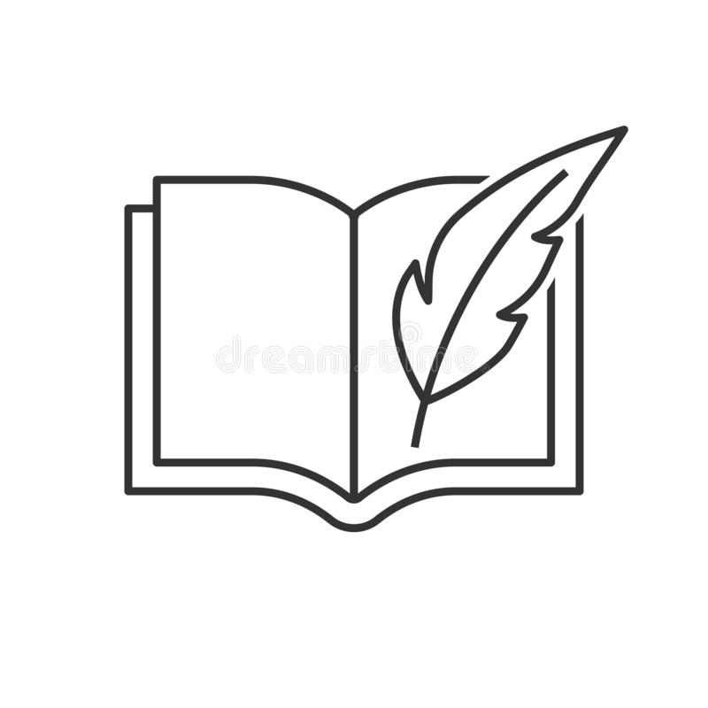 Book with feather pen royalty free illustration