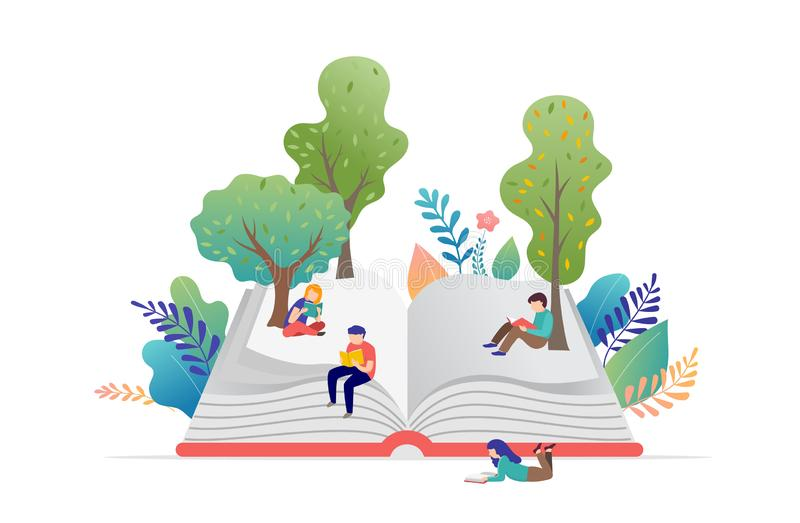 Book festival concept - a group of tiny people reading a huge open book. Vector illustration, poster and banner vector illustration