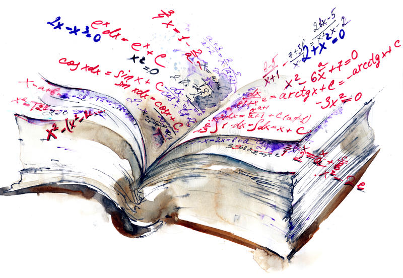 Book. Figures integrals formula in mathematics stock illustration