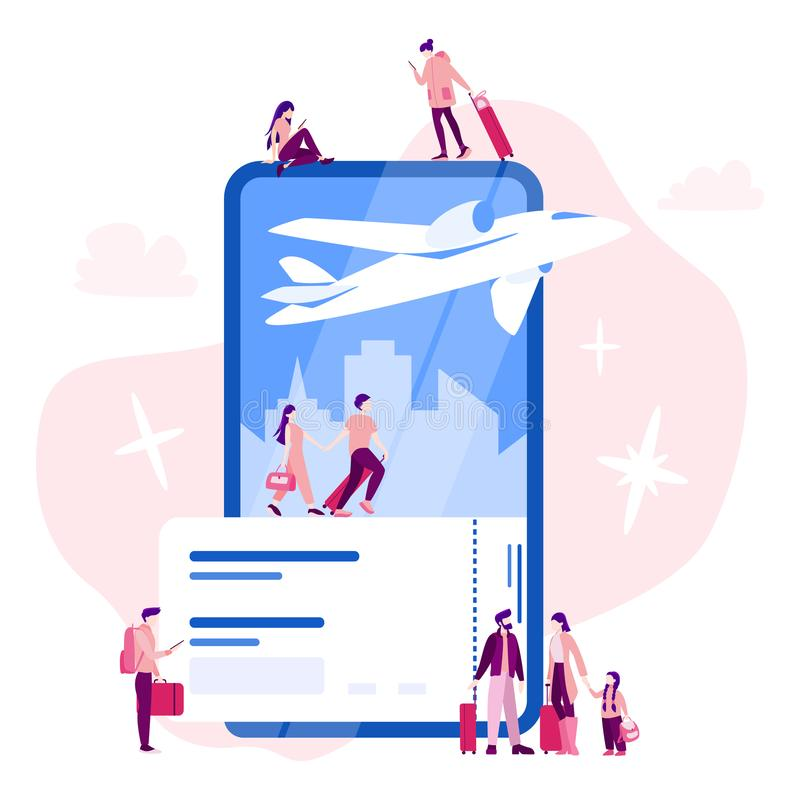 Book flight online concept. Idea of travel and tourism. Planning vector illustration