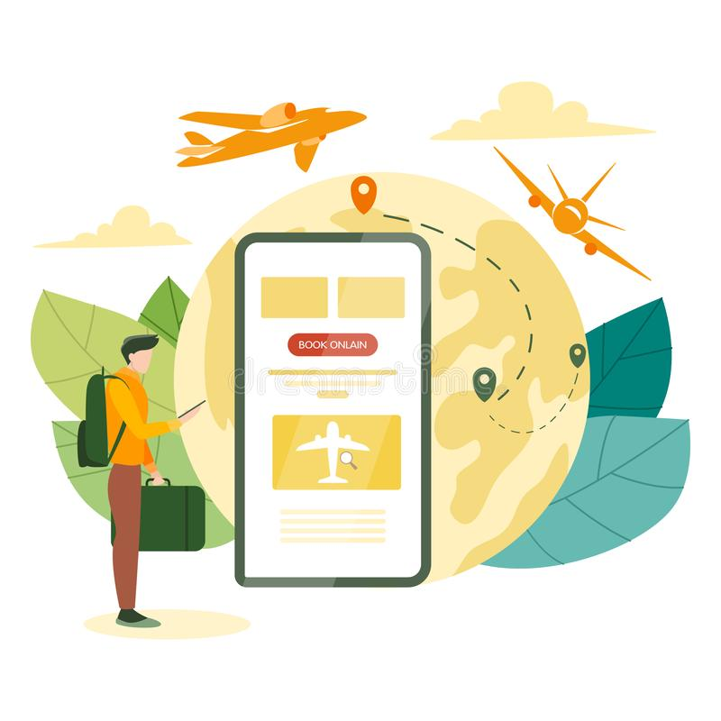 Book flight online concept. Idea of travel and tourism. Planning royalty free illustration