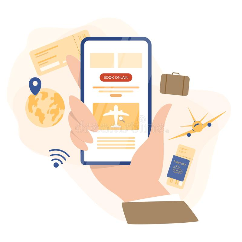 Book flight online concept. Idea of travel and tourism. Planning stock illustration
