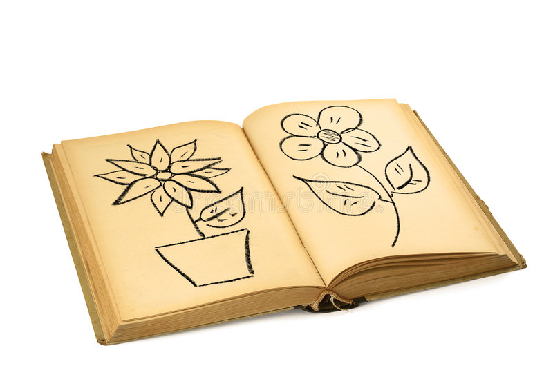 Book with flower drawings royalty free stock photos