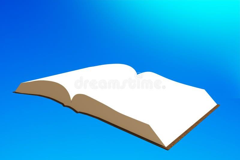 Book flying in blue sky, 3D illustration. Book flying in the blue sky, 3D illustration royalty free illustration