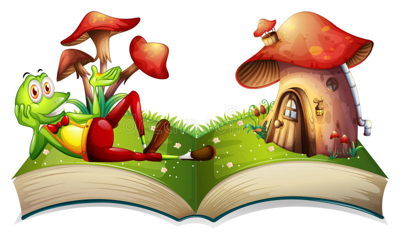 Book of frog and mushroom house vector illustration