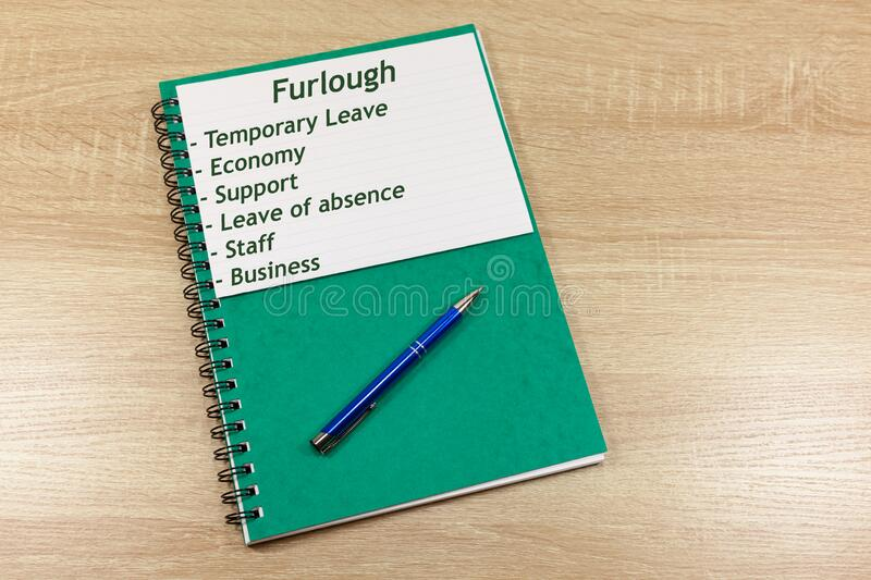 Book with heading `Furlough` and associated words. With copy space royalty free stock photography