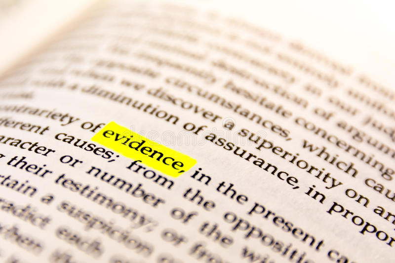 Book Highlighted Word Yellow Fluorescent Marker Paper Old Keyword Evidence stock photo