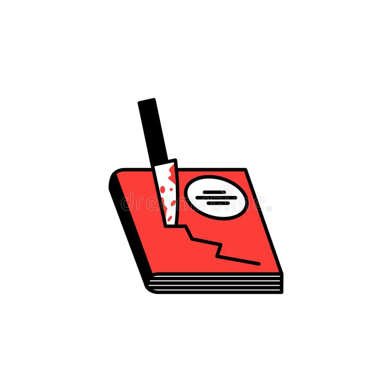 Book, horror, knife icon. Element of literary genres icon for mobile concept and web apps. Detailed Book, horror, knife icon can b stock illustration
