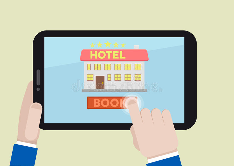 Book hotel room. Minimalistic illustration of booking a hotel room on a mobile device stock illustration