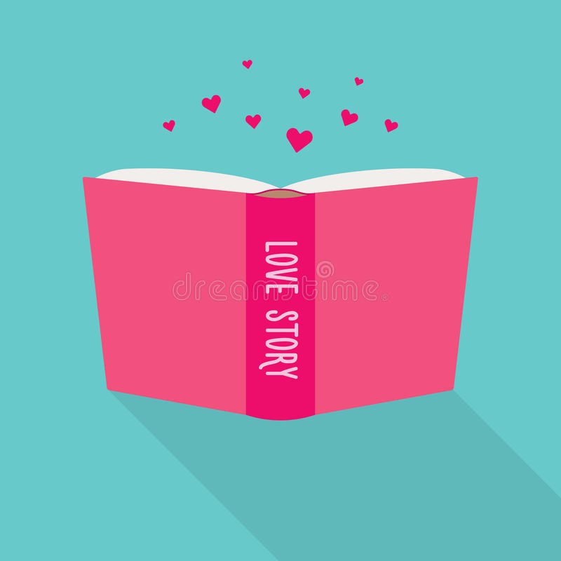 Book icon. Concept of love story, fiction genre vector illustration