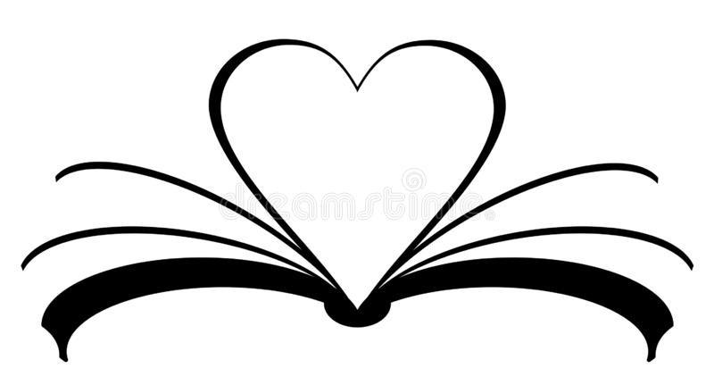 Book icon with heart made of pages. Love reading concept. Vector eps 10 royalty free illustration