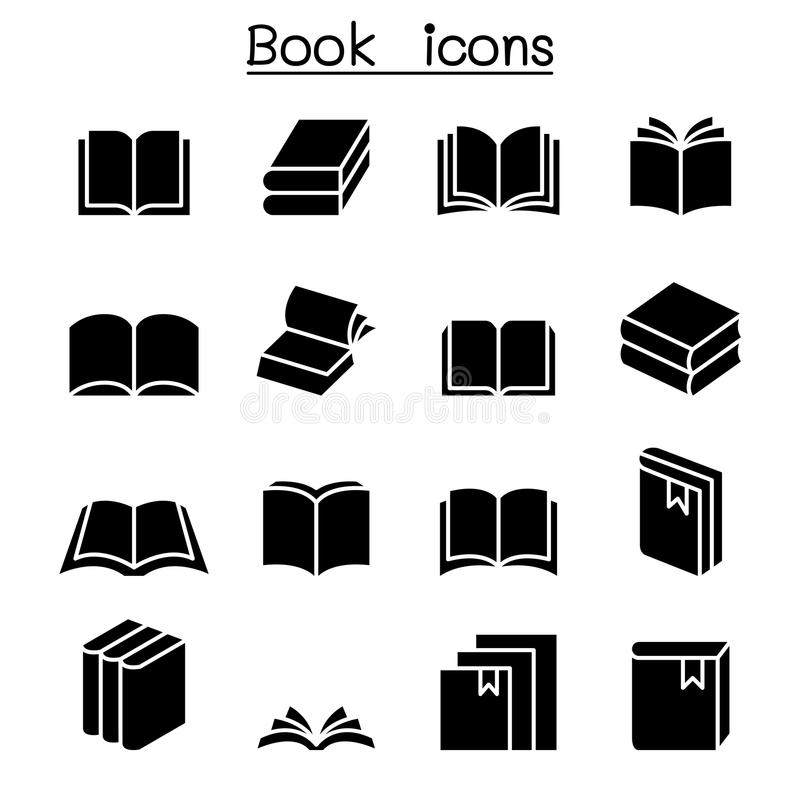 Book icon set stock illustration