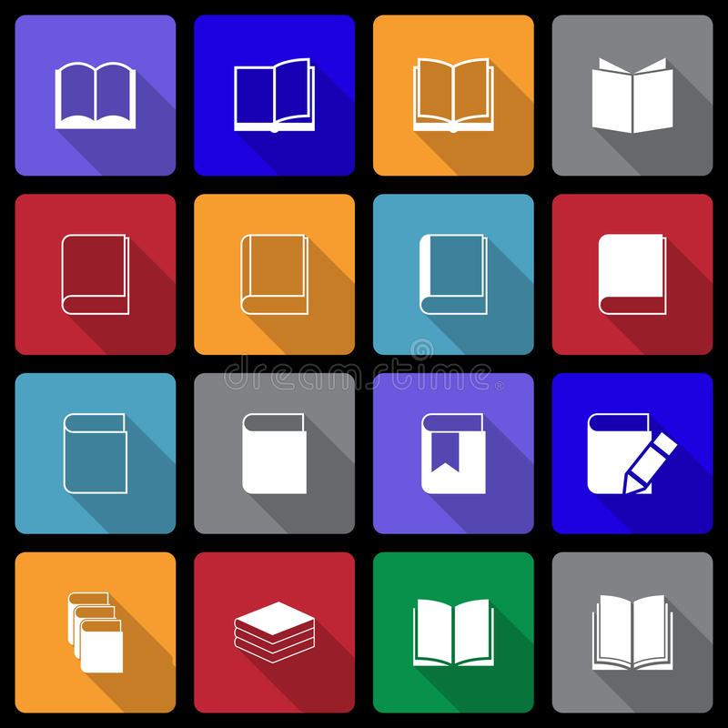 Book Icon set wiht Long Shadow royalty free stock images