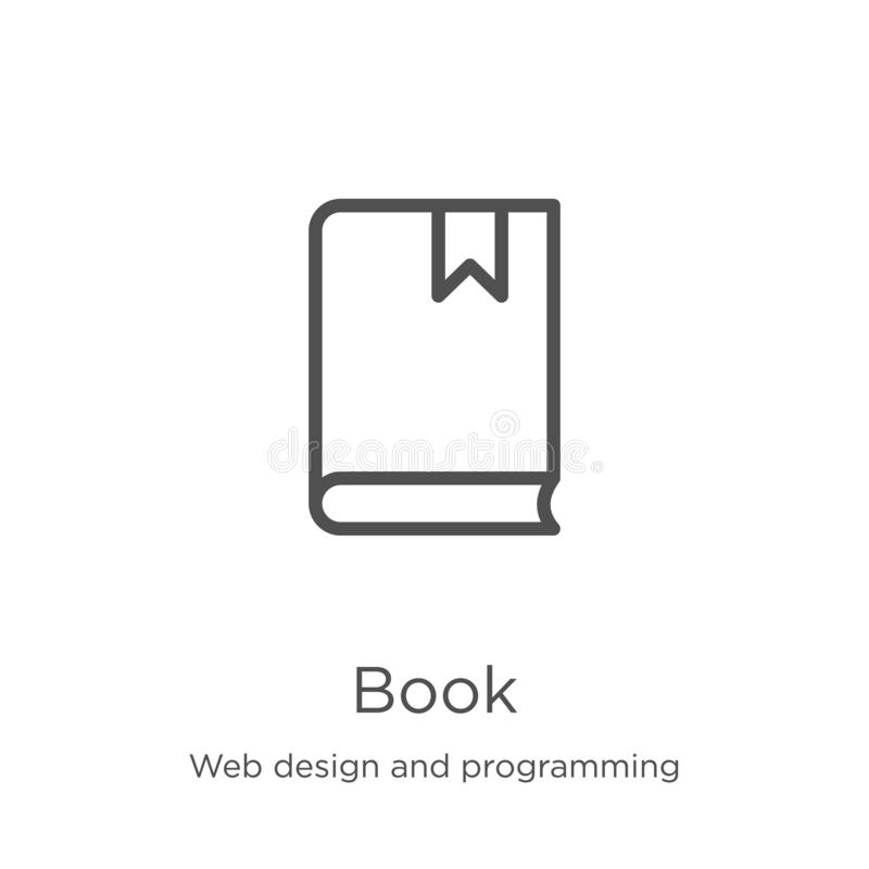 Book icon vector from web design and programming collection. Thin line book outline icon vector illustration. Outline, thin line. Book icon. Element of web royalty free illustration