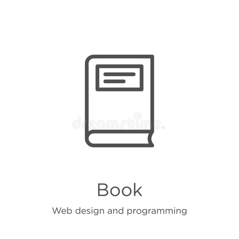 Book icon vector from web design and programming collection. Thin line book outline icon vector illustration. Outline, thin line. Book icon. Element of web stock illustration