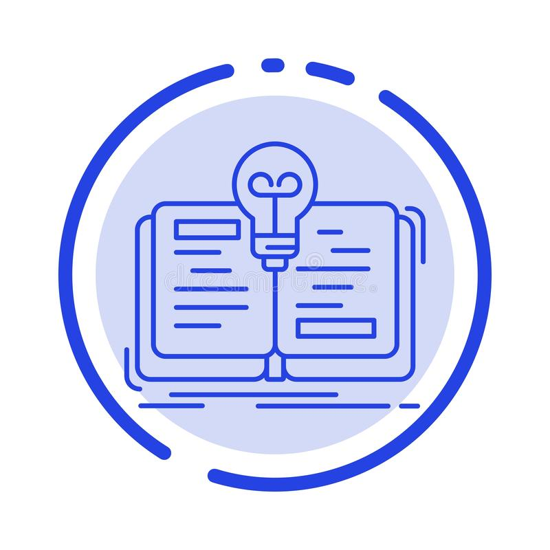 Book, Idea, Novel, Story Blue Dotted Line Line Icon royalty free illustration