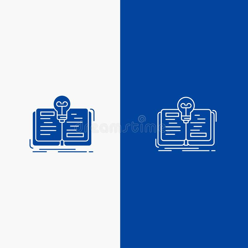 Book, Idea, Novel, Story Line and Glyph Solid icon Blue banner Line and Glyph Solid icon Blue banner stock illustration