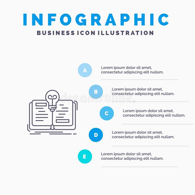 Book, Idea, Novel, Story Line icon with 5 steps presentation infographics Background vector illustration