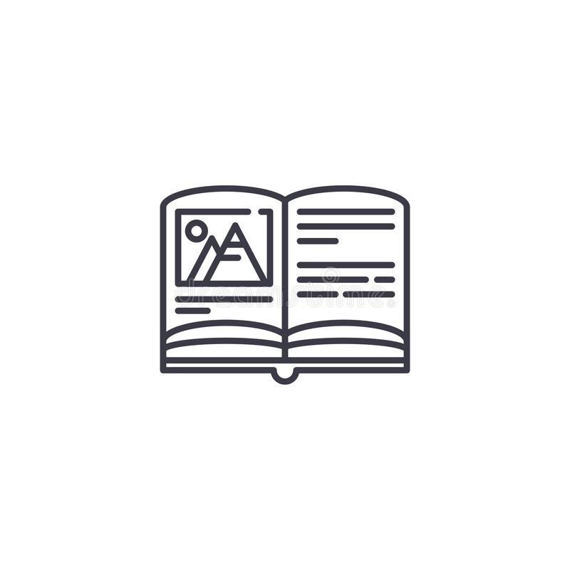 Book illustration linear icon concept. Book illustration line vector sign, symbol, illustration. royalty free illustration