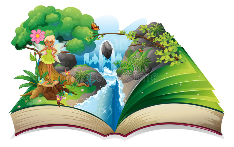 Download A Book With An Image Of Nature With A Fairy Stock Vector - Illustration: 32330904