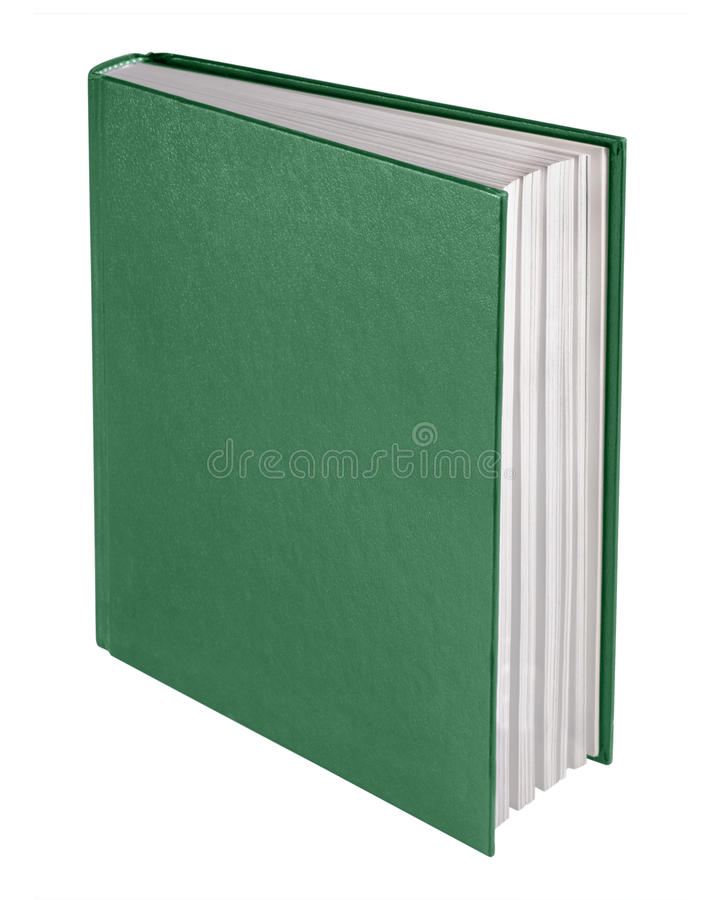 Book, isolated. Book in green with blank cover, isolated royalty free stock photos