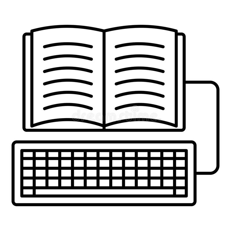 Book keyboard writing icon, outline style. Book keyboard writing icon. Outline illustration of book keyboard writing icon for web design isolated on white royalty free illustration