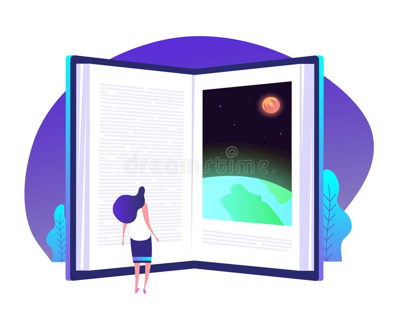 Book knowledge concept. Books door to knowledge global library education teaching learning world business vector royalty free illustration