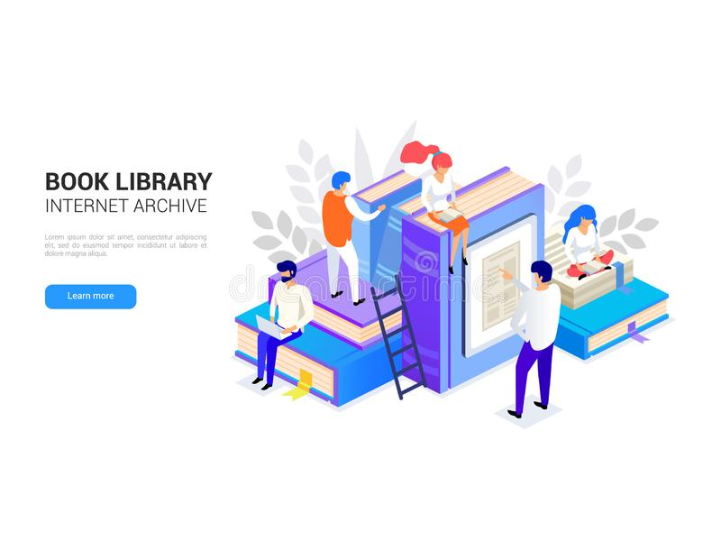 Book library isometric. Internet archive concept and digital learning for web banner. People reading. E-library vector vector illustration