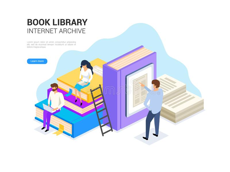 Book library isometric. Internet archive concept and digital learning for web banner. E library vector illustration. Book library isometric with people royalty free illustration