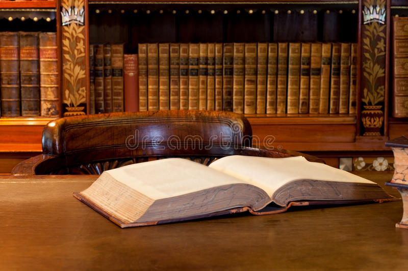 Book on library table royalty free stock image