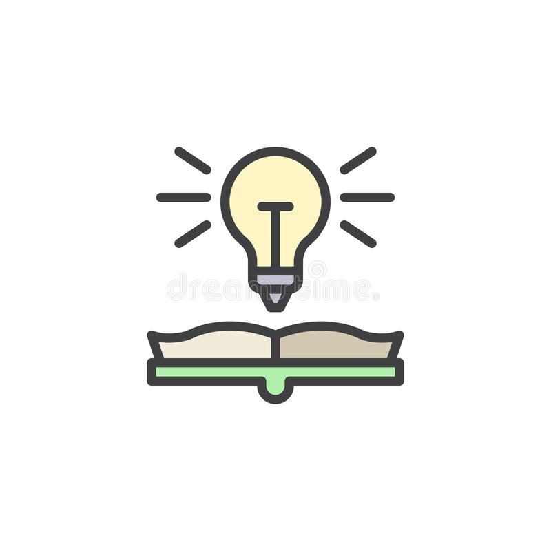 Book with light bulb filled outline icon vector illustration