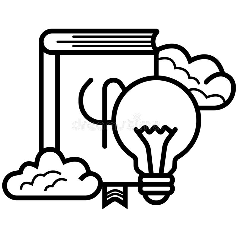 Book with light bulb icon vector illustration