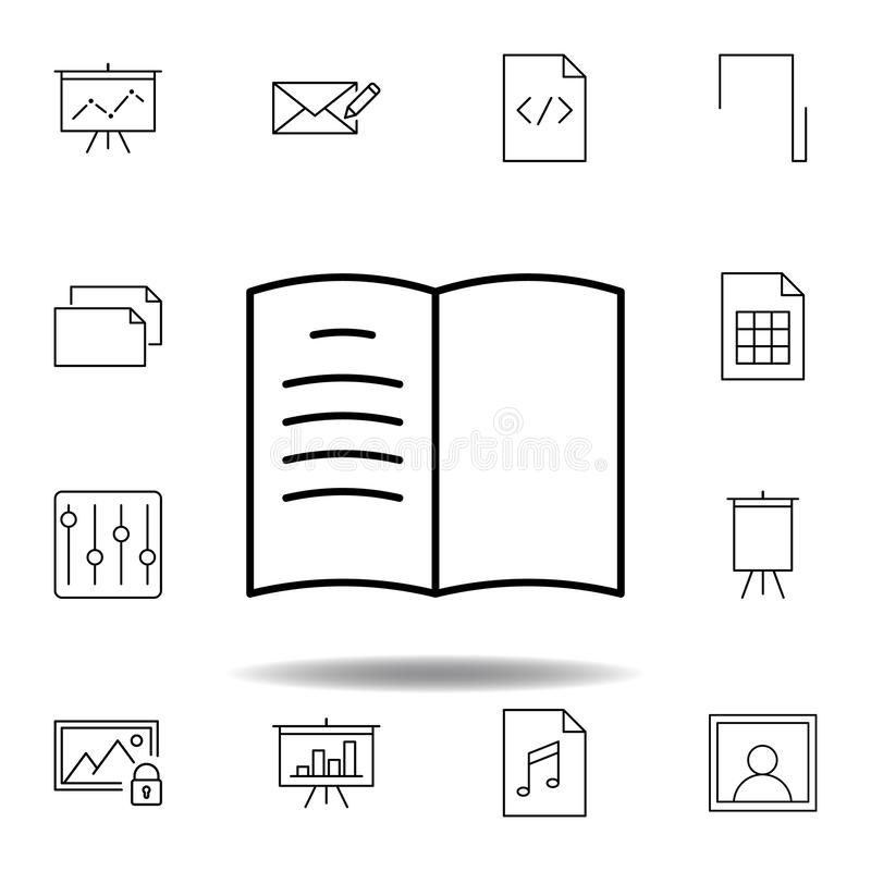 Book log bookmark outline icon. Detailed set of unigrid multimedia illustrations icons. Can be used for web, logo, mobile app, UI. UX on white background vector illustration