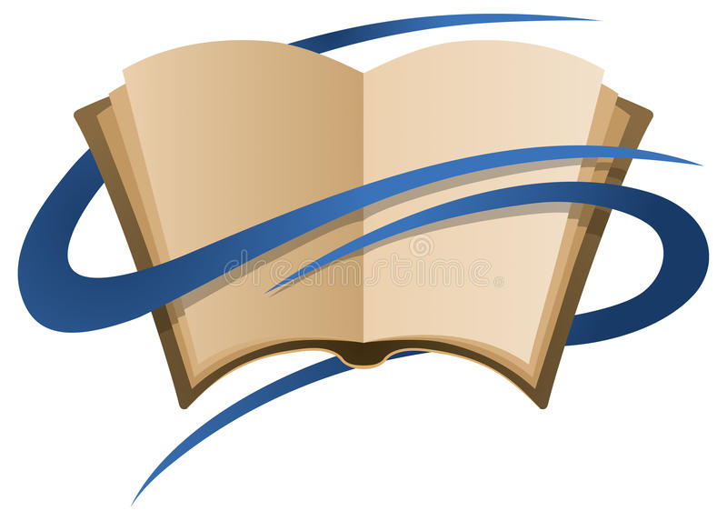 Book Logo. A logo of a book with blue ribbons