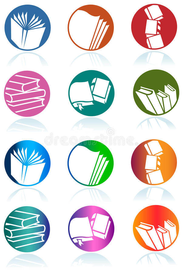 Book logo set. Illustrated isolated book logo design set stock illustration