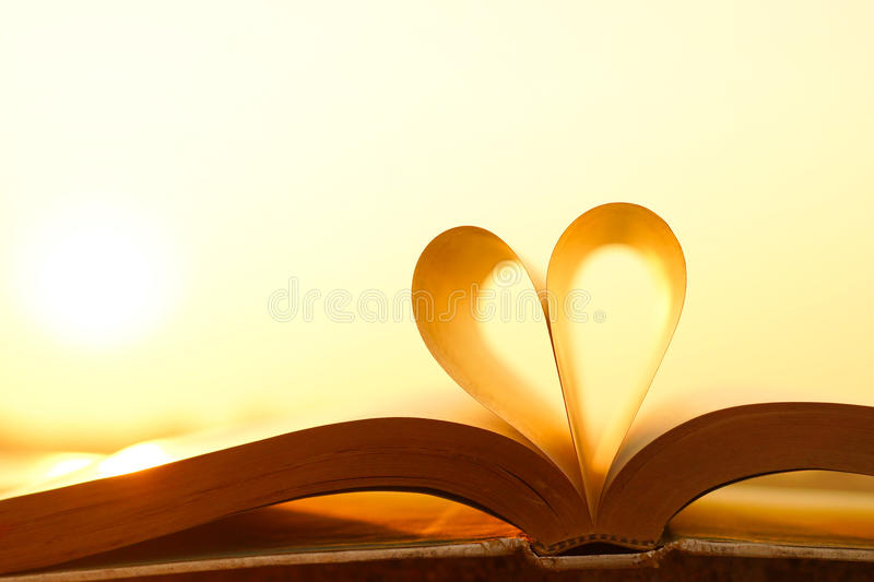 Book and love. Heart from book pages with warm sunlight stock image