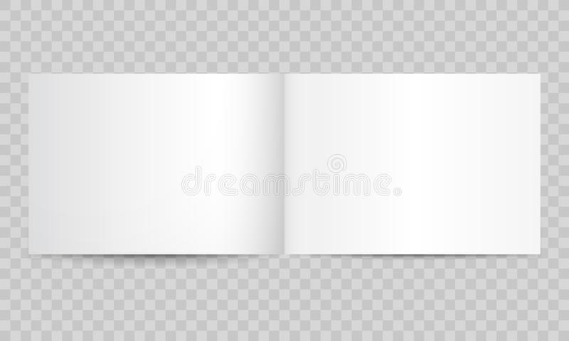 Book magazine open blank pages. Vector isolated 3D catalog brochure or A4 horizontal landscape album booklet mockup empty. Book or magazine open blank pages royalty free illustration