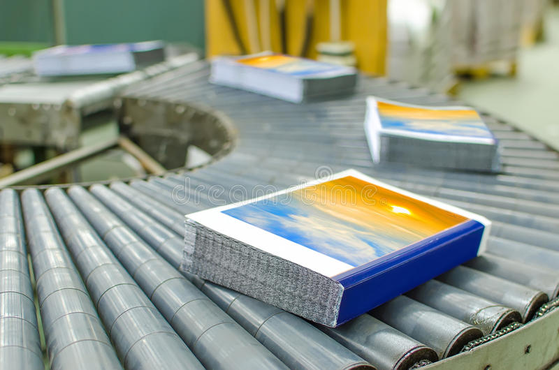 Book, magazine, production line in print house stock photo