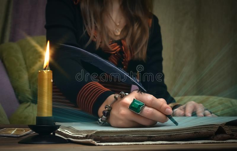 Book of magic. Future reading. Book of magic on fortune teller concept. royalty free stock images