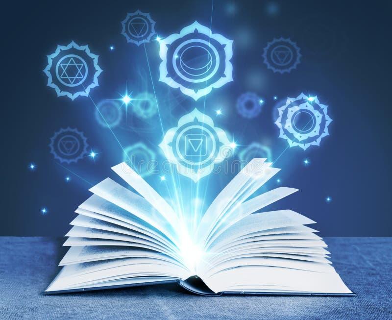 Book with magic symbols stock illustration