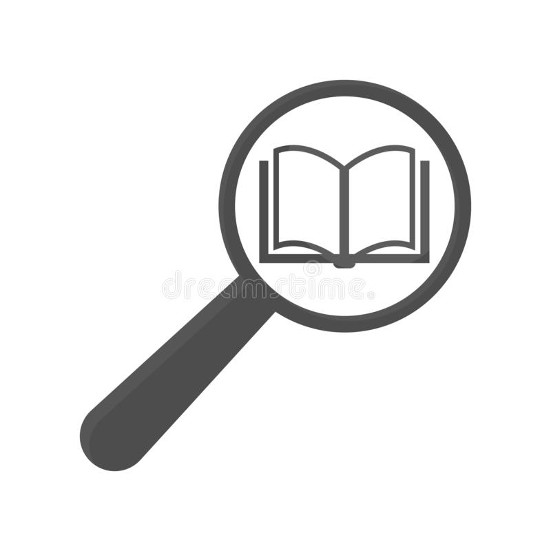 Book and magnifying glass icon vector illustration
