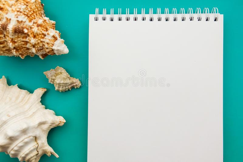 A book in marine decorations. Sea themes. Sea mood. Memories of the holiday. Photo album about vacation stock photo