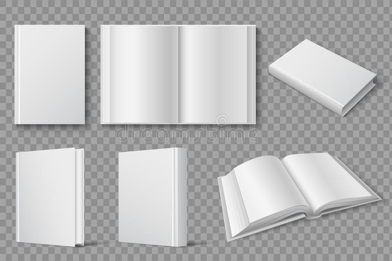 Book mockup. Blank white closed and open books. Textbooks and brochures isolated vector template royalty free illustration