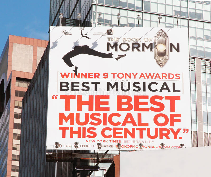 The Book Of Mormon. Advertisement for the musical the book of mormon, winner of nine tony awards in times square, ny stock photography
