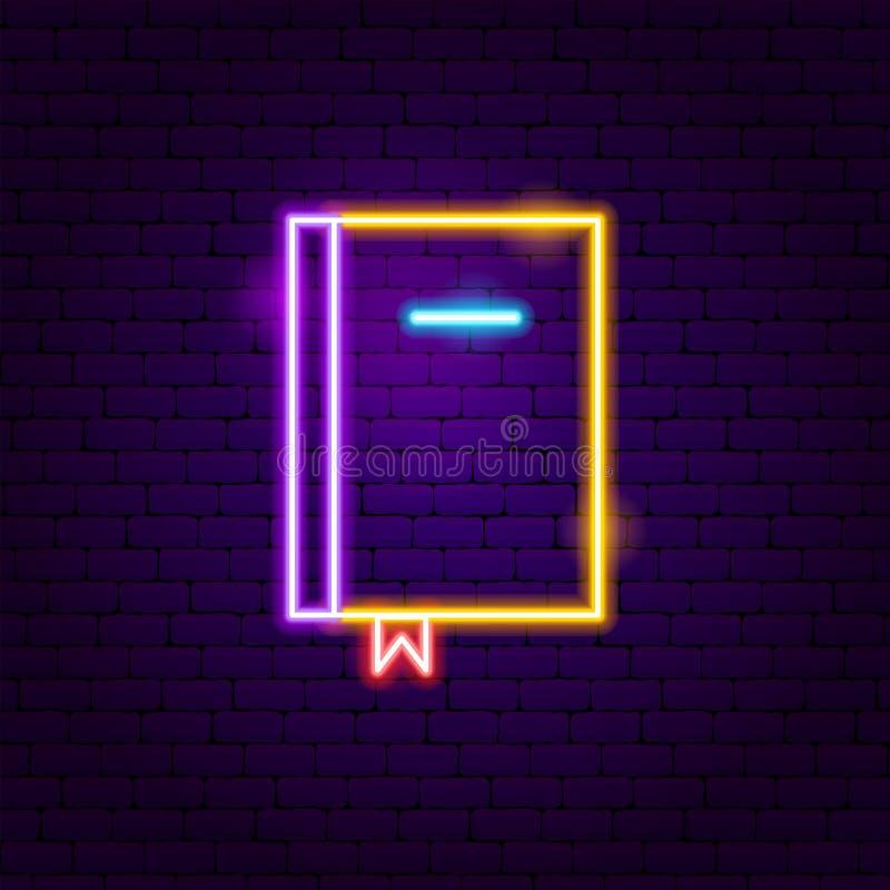 Book Neon Label. Vector Illustration of Education Promotion stock illustration