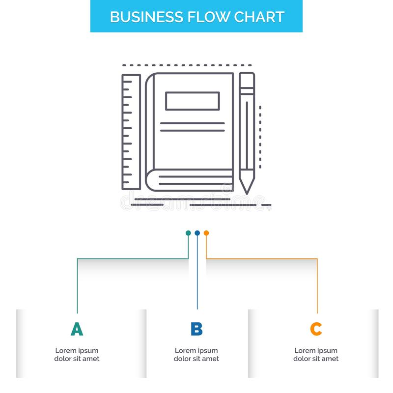 Book, notebook, notepad, pocket, sketching Business Flow Chart Design with 3 Steps. Line Icon For Presentation Background Template royalty free illustration
